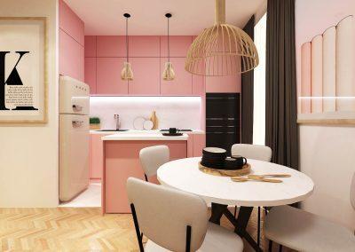 Růžová Kuchyně - Interier Design